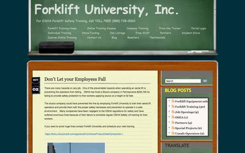 Screenshot of Blog forkliftuniversity.com - Blog - captured Oct. 6, 2014