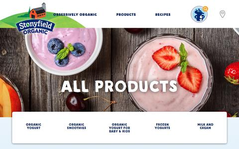 Screenshot of Products Page stonyfield.com - Our Products - Stonyfield - captured Jan. 16, 2018