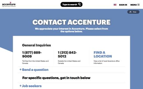Screenshot of Contact Page accenture.com - Contact Accenture - captured April 9, 2017