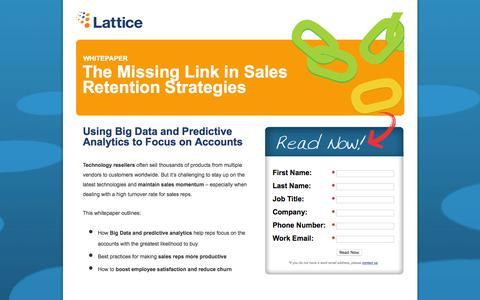 Screenshot of Landing Page lattice-engines.com - The Missing Link in Sales Retention Stretegies - captured Dec. 15, 2015