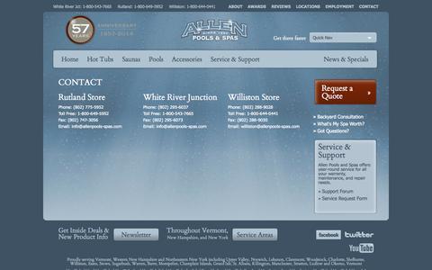 Screenshot of Contact Page allenpools-spas.com - Hot Tubs Rutland, Ludlow, Hot Tubs Okemo, Portable Spas, VT - captured Sept. 30, 2014