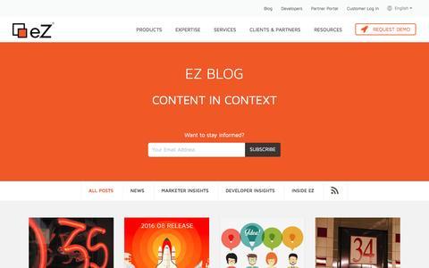 Screenshot of Blog ez.no - Blog - eZ Content Management System (CMS) - captured Sept. 4, 2016