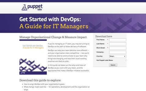 Screenshot of Landing Page puppetlabs.com - Get Started with DevOps: A Guide for IT Managers - captured March 27, 2016