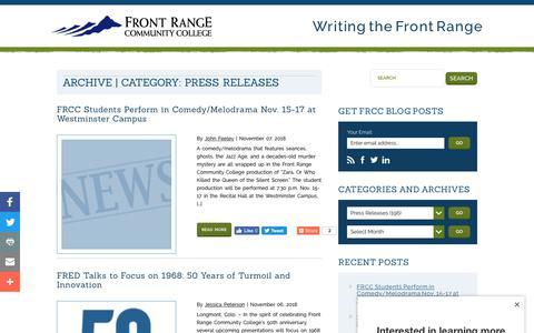 Screenshot of Press Page frontrange.edu - Press Releases – Front Range Community College Blog - captured Nov. 8, 2018
