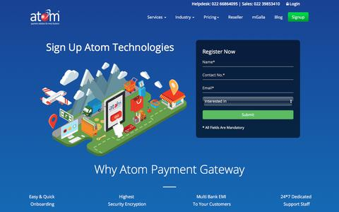 Screenshot of Signup Page atomtech.in - Sign Up for Secure Payment Solution | Payment Service Provider - captured Sept. 23, 2018