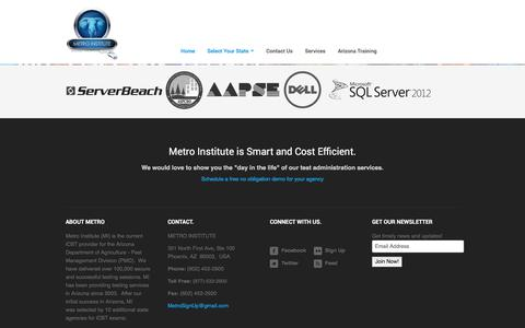 Screenshot of About Page metroinstitute.com - Metro Institute Innovating Computer Based Testing and Education - captured Jan. 18, 2018