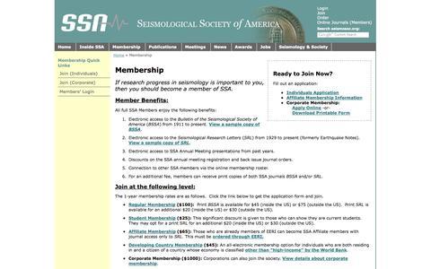 Screenshot of Signup Page seismosoc.org - SSA - Membership - captured Oct. 27, 2014