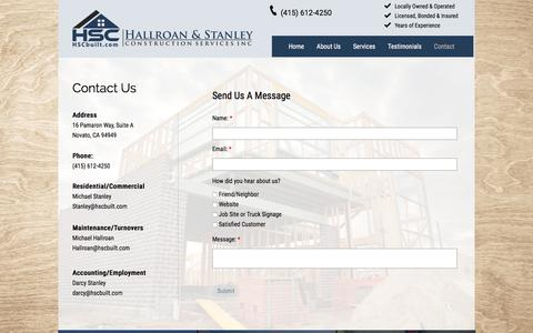 Screenshot of Contact Page hscbuilt.com - Contact | Hallroan & Stanley Construction Services - captured Oct. 19, 2016