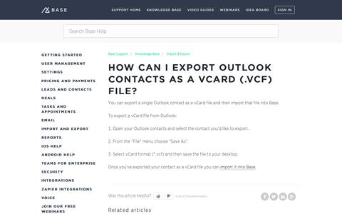 Screenshot of Support Page getbase.com - How can I export Outlook contacts as a vCard (.vcf) file? – Base Support - captured Oct. 9, 2018