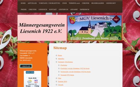 Screenshot of Site Map Page mgv-liesenich.de - Männergesangverein - Liesenich 1922 e.V - Home - captured June 8, 2016