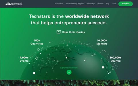 Screenshot of Home Page techstars.com - Techstars | Startup Accelerators, Funding & Mentorship - captured Nov. 12, 2017