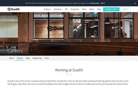 Screenshot of Jobs Page duedil.com - Careers    DueDil - captured Jan. 19, 2020