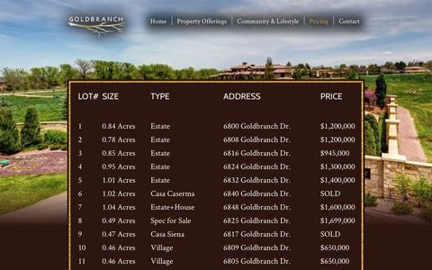 Screenshot of Pricing Page goldbranchestates.com - Pricing - Goldbranch Estates - captured July 15, 2016