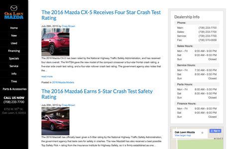 Screenshot of Blog oaklawnmazda.com - Oak Lawn Mazda Blog | Mazda Dealer Chicago, Evergreen Park Alsip - captured Aug. 4, 2015