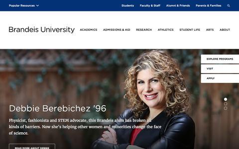 Screenshot of Home Page brandeis.edu - Brandeis University - captured Feb. 14, 2017