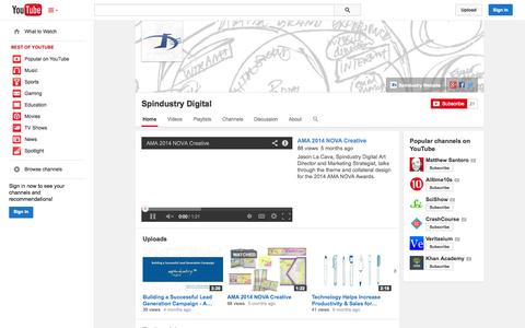 Screenshot of YouTube Page youtube.com - Spindustry Digital  - YouTube - captured Oct. 26, 2014