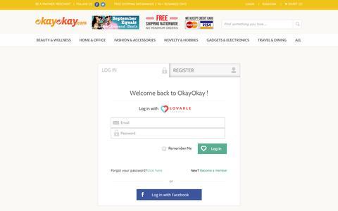 Screenshot of Login Page okayokay.com - Login for your okayokay account - captured Sept. 22, 2014