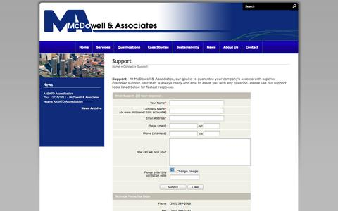 Screenshot of Support Page mcdowellandassociates.com - Support - McDowell & Associates - captured Oct. 10, 2014