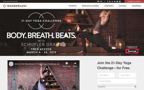 Screenshot of Signup Page wanderlust.com - Wanderlust Body. Breath. Beats. · Wanderlust 21-Day Yoga Challenge - captured Feb. 21, 2019