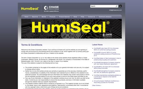 Screenshot of Terms Page humiseal.com - Terms & Conditions | HumiSeal® - captured Oct. 1, 2014