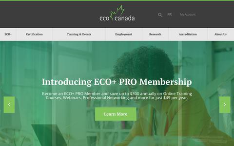 Screenshot of Home Page eco.ca - ECO Canada - Environmental Careers Organization Canada - captured Dec. 7, 2018