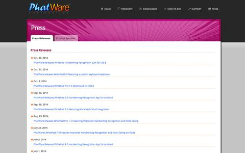 Screenshot of Press Page phatware.com - PhatWare Corp. | Handwriting Recognition Software & WritePad SDK for iPad, iPhone, Android and Windows - captured Oct. 30, 2014