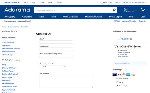 Screenshot of Contact Page adorama.com - Contact Us | Adorama.com - captured Oct. 4, 2019