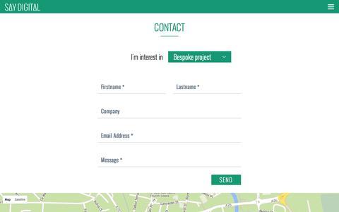 Screenshot of Contact Page saydigital.co.uk - Contact Say Digital | Digital Innovation Partner, Brighton - captured Dec. 22, 2015