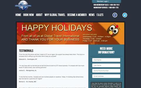 Screenshot of Testimonials Page globaltravel.com - Global Travel: Cruises, Hotels, Vacations, Cheap Flights - captured Nov. 26, 2015