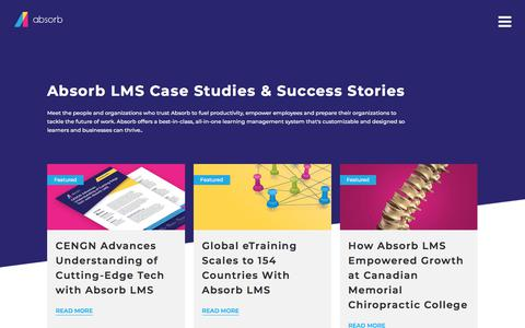 Screenshot of Case Studies Page absorblms.com - (2) New Messages! - captured Dec. 10, 2019