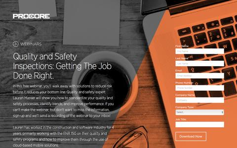 """Screenshot of Landing Page procore.com - """"Quality and Safety Inspections: Getting The Job Done Right. - captured April 5, 2016"""