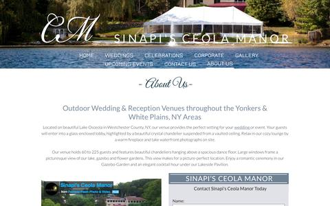 Screenshot of About Page ceola.com - Outdoor Wedding Receptions White Plains & Yonkers, NY | Sinapis Ceola Manor - captured Feb. 4, 2016