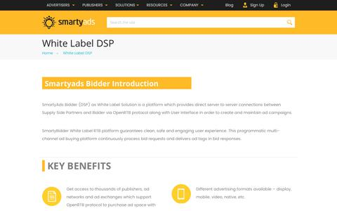 Screenshot of smartyads.com - White Label DSP | SmartyAds White Label RTB platform - captured May 31, 2017