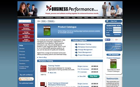 Screenshot of Products Page businessperform.com - Product Catalogue | Business Performance Pty Ltd - captured Nov. 26, 2015