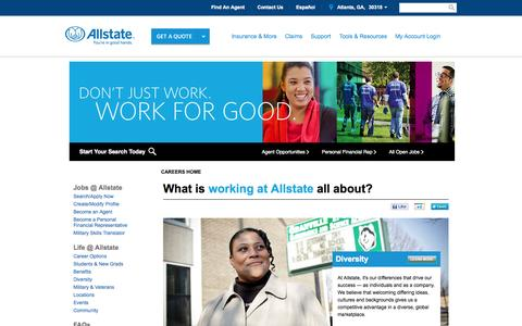 Screenshot of Jobs Page allstate.com - Allstate | Careers Jobs and Employment - Contact HR - captured Sept. 18, 2014