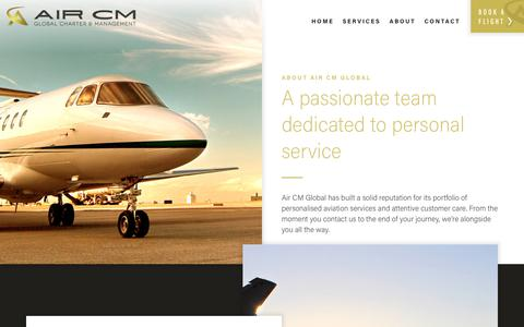 Screenshot of About Page aircm.aero - Air CM Global | About Us - captured Oct. 6, 2017