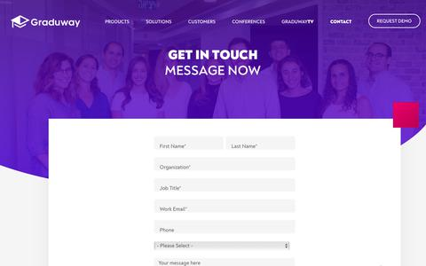Screenshot of Contact Page graduway.com - Contact - Graduway - captured July 18, 2019