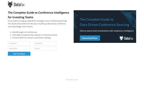 Screenshot of Landing Page datafox.com - The Definitive Guide to Building a Data-Driven Conference Strategy - captured May 25, 2017