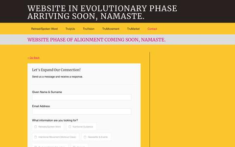 Screenshot of Contact Page karmieb.com - WEBSITE PHASE OF ALIGNMENT COMING SOON, NAMASTE. | WEBSITE IN EVOLUTIONARY PHASE ARRIVING SOON, NAMASTE. - captured Oct. 21, 2018