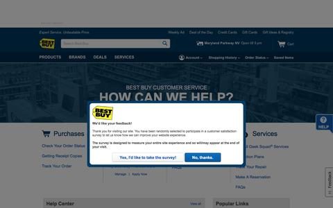 Screenshot of Support Page bestbuy.com - Best Buy Customer Service & Help Topics - captured March 8, 2018
