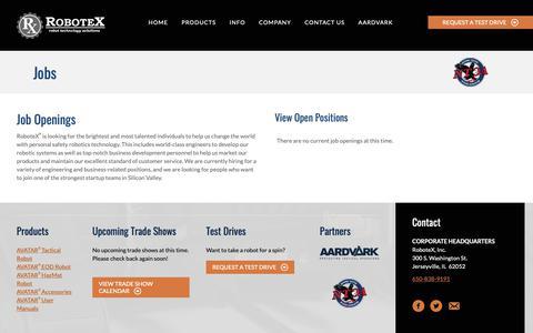 Screenshot of Jobs Page robotex.com - RoboteX Job Openings | Robotic Engineer Careers | Jerseyville IL - captured June 9, 2019