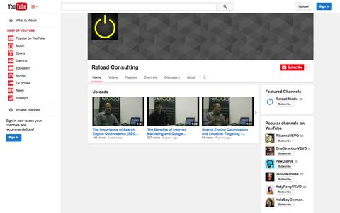 Screenshot of YouTube Page youtube.com - Reload Consulting  - YouTube - captured Nov. 5, 2014