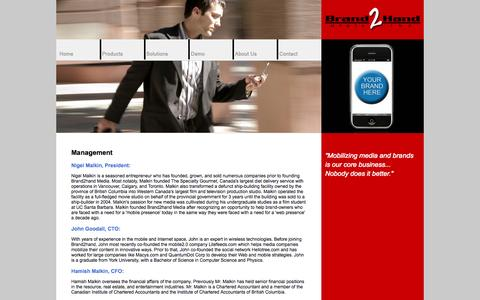 Screenshot of Team Page brand2handmedia.com - Brand2Hand Media Inc. - captured Oct. 5, 2014