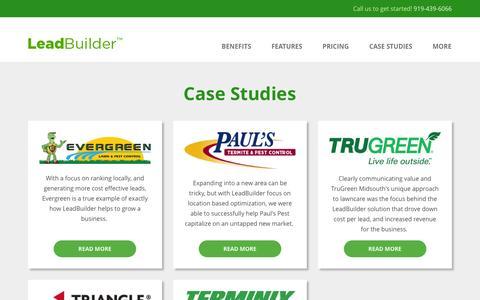 Screenshot of Case Studies Page getleadbuilder.com - Lawn Care & Pest Control Marketing Case Studies | LeadBuilder - captured Feb. 14, 2016