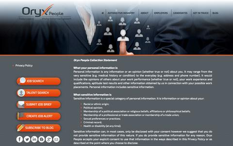 Screenshot of Privacy Page oryxpeople.com.au - Automotive / Motor Industry management jobs  | ORYX People - captured Oct. 7, 2014