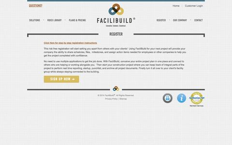 Screenshot of Trial Page facilibuild.com - Free Registration, Register for Free | FaciliBuild - captured Sept. 30, 2014