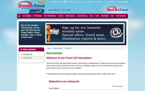 Screenshot of Signup Page travel247.ie - Travel247 - Newsletter - captured Oct. 26, 2014
