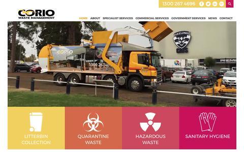 Screenshot of Home Page coriowm.com.au - Corio Waste Management | - captured Aug. 25, 2017
