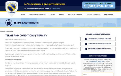 Screenshot of Terms Page lockssafesalarms.com - Terms & Conditions - Colorado Security Products - captured Jan. 29, 2016