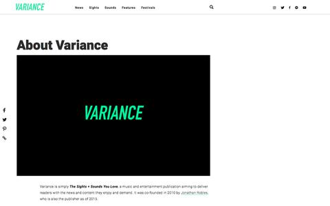 Screenshot of About Page variancemagazine.com - About Us - captured Sept. 21, 2018